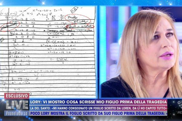 """Lory Del Santo mostra cosa scrisse il figlio Loren prima di morire: """"Il ..."""
