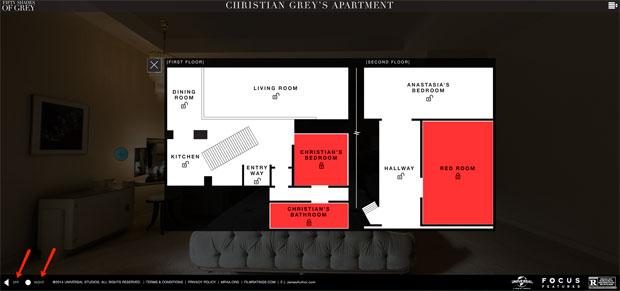 La piantina interattiva della casa di Christian Grey