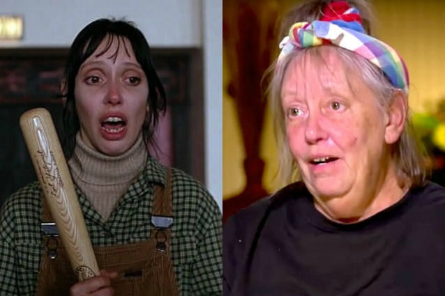 A sinistra, Shelley Duvall in una scena del film 'Shining'. A destra, Shelley Duvall oggi.