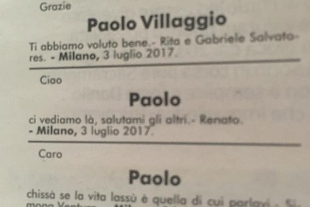 Renato pozzetto ricorda l 39 amico paolo villaggio salutami for Necrologio corriere della sera