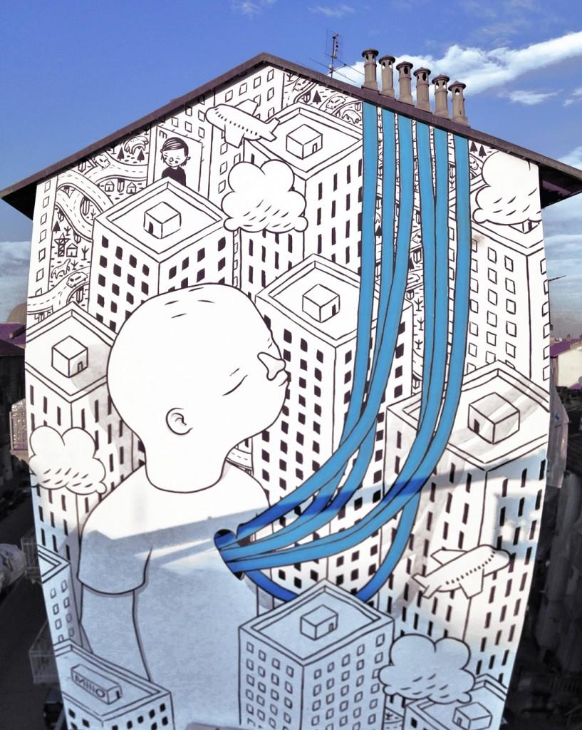 Un murales realizzato da Millo al quartiere Barriera di Torino
