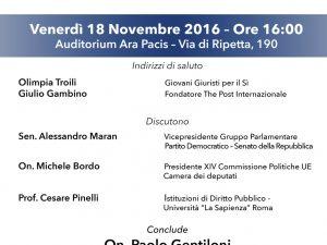 NUOVO ASSETTO ISTITUZIONALE ITALIANO IN EUROPA: DOMANI INIZIATIVA CON MINISTRO GENTILONI
