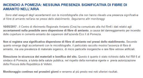 Informazioni dal comunicato del Centro Regionale Amianto