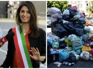 Emergenza rifiuti, la sfida di Raggi: pulire Roma prima dell'arrivo delle magliette gialle di Renzi