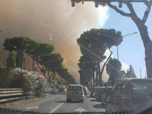 """La nube di fumo causata dai roghi nella pineta di Castel Fusano (Foto di """"Roma fa schifo"""" via Facebook)"""