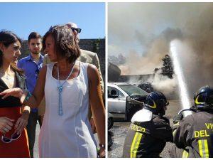 Incendio Roma Pietralata: fiamme in un autodemolitore, 2 feriti gravi