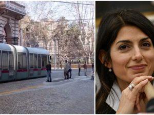 Virginia Raggi presenta il nuovo tram che collegherà i Fori Imperiali a piazza Vittorio