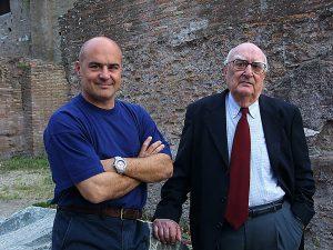 Andrea Camilleri e Luca Zingaretti, interprete del commissario Montalbano, a Roma nel 2003