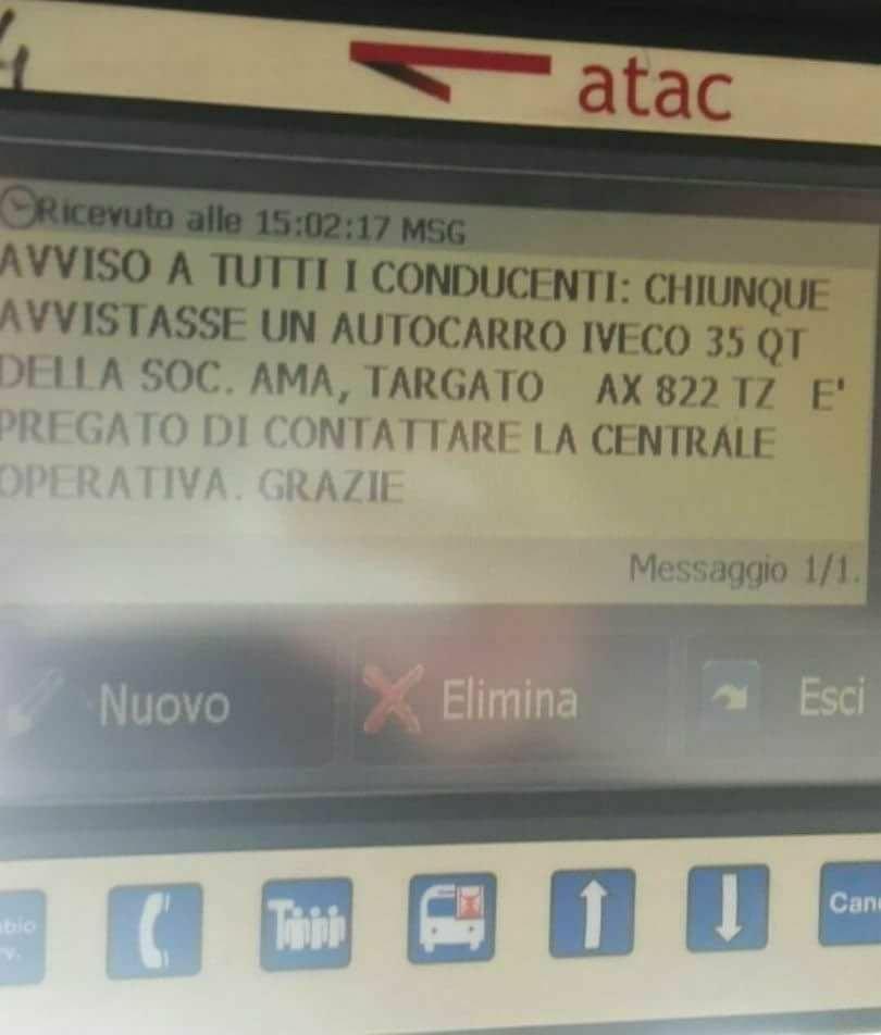 Roma, rubato un furgone dell'Ama, scatta l'allerta antiterrorismo