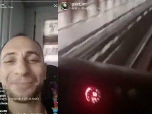 Il rapper Gast nella cabina di guida della Metro B di Roma