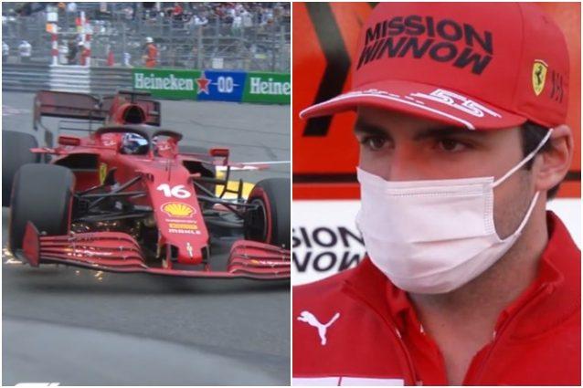 """Sainz delusione frustrato incidente Leclerc GP Monaco qualifiche Montecarlo Ferrari F1 2021 - Sainz deluso dopo le qualifiche del GP di Monaco: """"Sono frustrato. Potevamo fare doppietta Ferrari"""""""