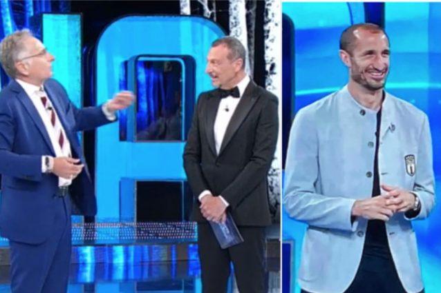 """Schermata 2021 06 01 alle 22.36.22 638x425 - Bonolis sfotte Chiellini: """"In Italia puoi buttarti a terra, in Europa no"""""""