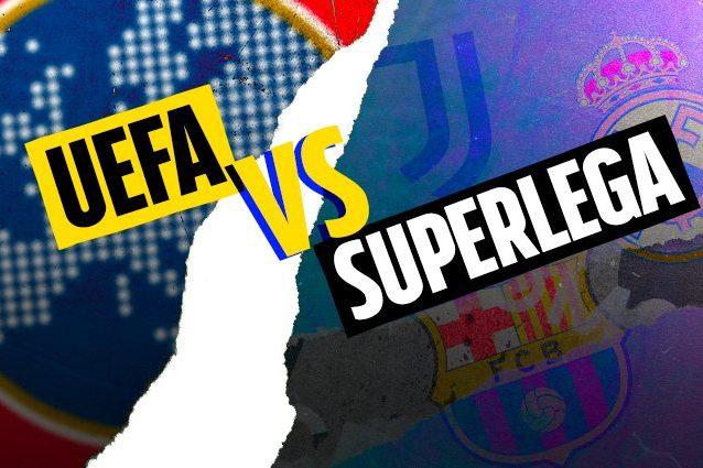"""UEFA VS SUPERLEGA ARTICOLO 638x425 - La Uefa si ferma: """"Sospeso il procedimento contro Juve, Real Madrid e Barcellona"""""""