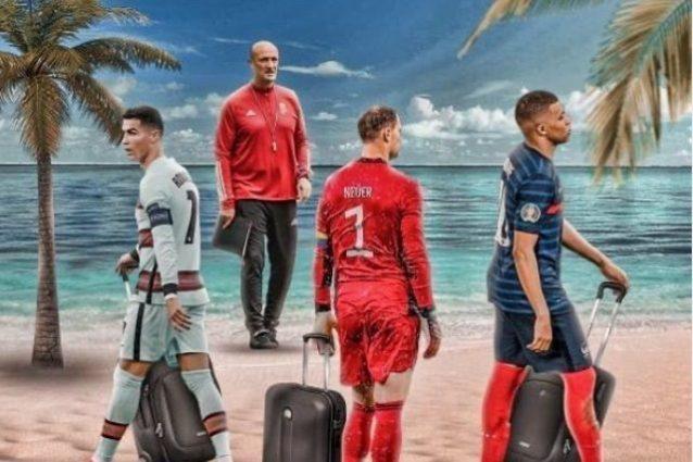 """marco rossi ronaldo mbappe neuer 1625034371233 638x425 - """"Ci vediamo in spiaggia"""", il fotomontaggio che irride Cristiano Ronaldo, Neuer e Mbappé"""