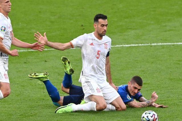 """Busquets Italia Spagna Europei Euro 2020 638x425 - Busquets non si dà pace: """"Spagna meglio dell'Italia per tutta la partita"""""""
