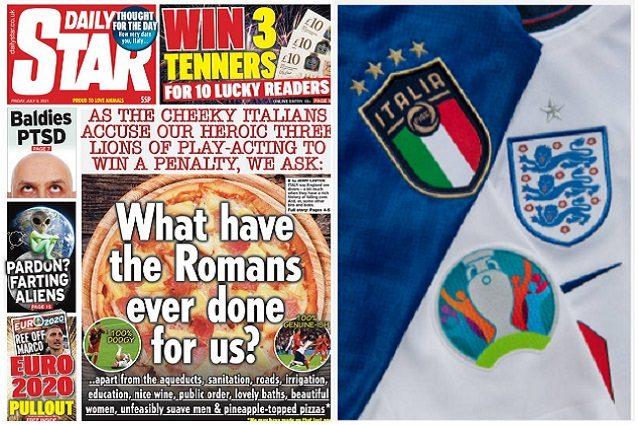 """ingh ita stampa inglese - Prima pagina d'assalto, in Inghilterra provocano l'Italia: """"Loschi e sfacciati"""""""