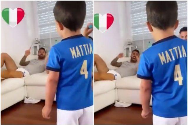 """spinazzola inno figlio mattia 638x425 - """"Fratelli d'Italia"""": Spinazzola da casa canta l'inno con il figlio Mattia"""