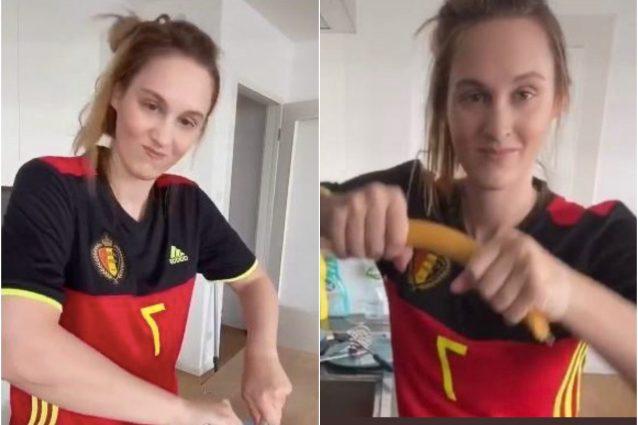 """tifosa Belgio spaghetti 638x425 - La tifosa del Belgio ora fa festa con l'Italia: """"Ho portato fortuna, possiamo dirlo"""""""