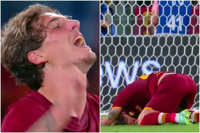 """Zaniolo esultanza lacrime urlo Roma Trabzonspor gol 400 giorni dopo ultima volta - Zaniolo in lacrime, torna al gol dopo 400 giorni e si commuove: """"Momento più buio della mia vita"""""""