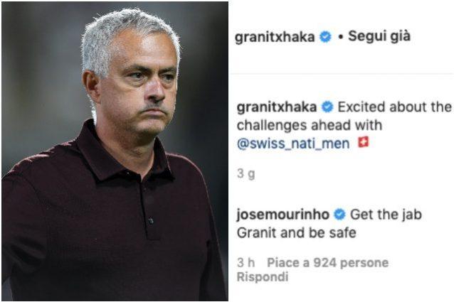 """Mourinho 638x425 - Sorpresa Mourinho, scrive a Xhaka e lo avverte: """"Fai il vaccino e stai al sicuro"""""""