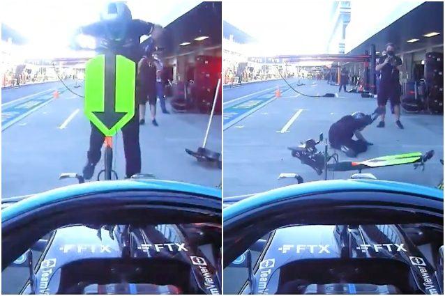 """incidente Hamilton investe meccanico ai box pit stop FP2 GP Russia Sochi F1 - Hamilton investe il meccanico Mercedes, paura ai box: """"Scusatemi, sta bene?"""""""