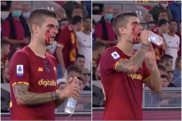 mancini 638x425 - Il volto insanguinato di Mancini gela l'Olimpico: il difensore poi rientra e salva un gol