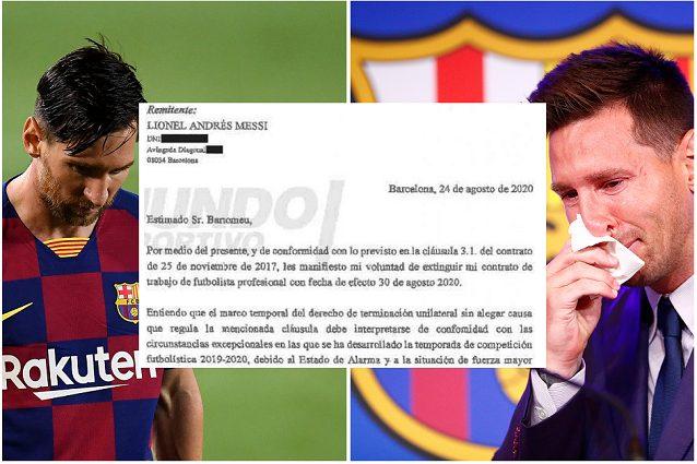 """messi contratto - """"Voglio rescindere il contratto"""": il documento con cui Messi chiese di andare via dal Barcellona"""