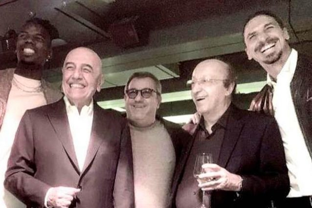 "ibrahimovic moggi raiola galliani 638x425 - Ibrahimovic con Moggi, Galliani e Raiola, una reunion speciale: ""Quell'uomo irradiava potere"""