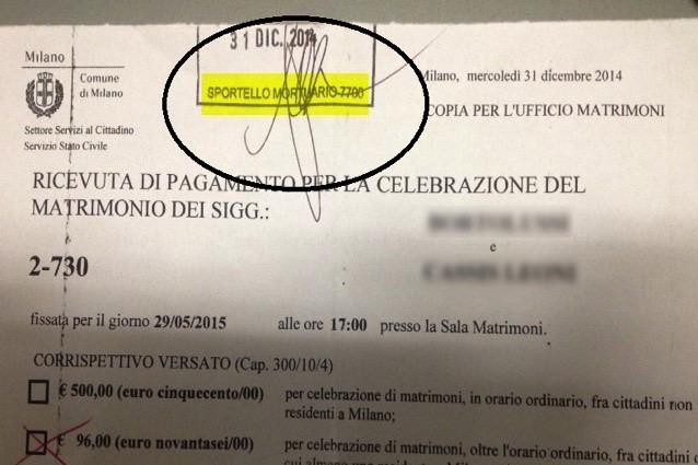 Ufficio Di Anagrafe Milano : Milano timbro dei servizi mortuari sul certificato di matrimonio