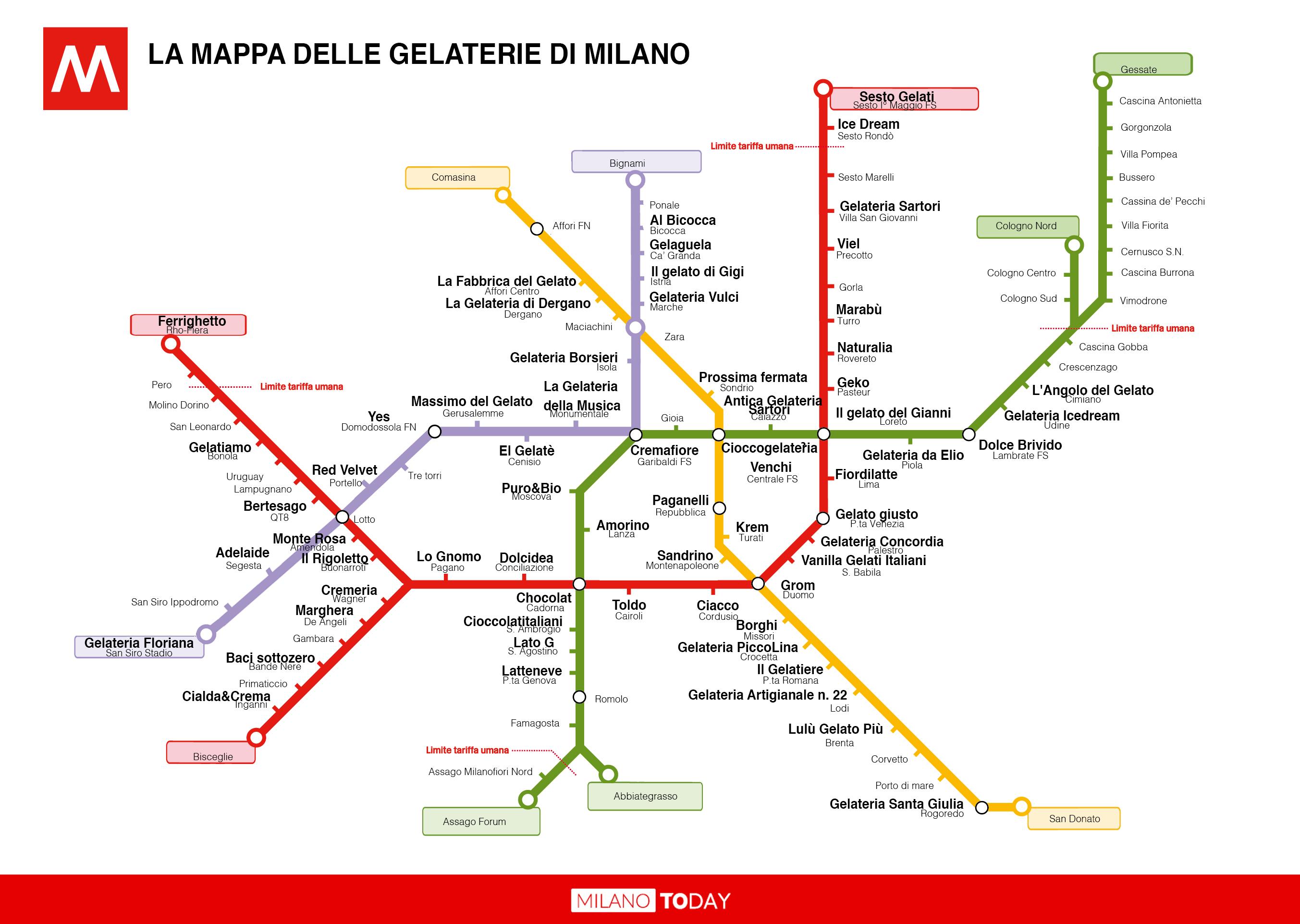 La mappa della metro di milano con i nomi delle gelaterie for Design della mappa di casa