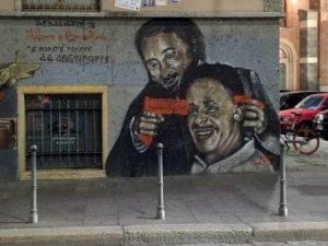 Il murale vandalizzato (foto di Alvise Salerno su Facebook)