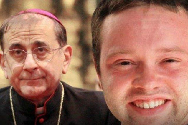 L'arcivescovo di Milano Mario Delpini e don Mauro Galli (a destra)