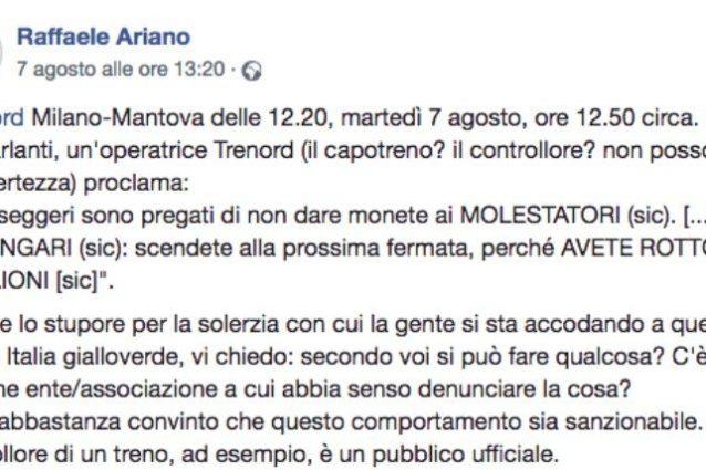 Il post di denuncia (dal profilo di Raffaele Ariano su Facebook)