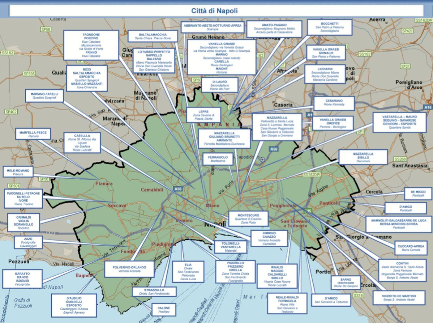 Quartieri Di Napoli Cartina.La Mappa Dei Clan Di Camorra A Napoli