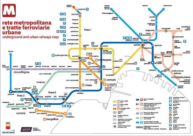 La mappa del trasporto pubblico e delle Funicolari di Napoli