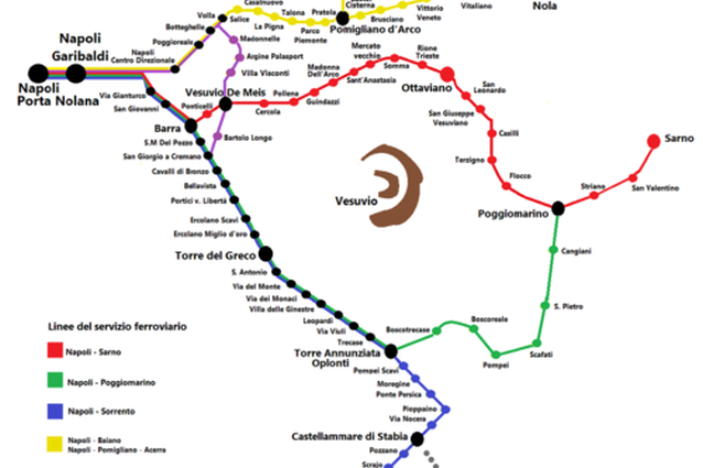 Mappa e orari della Circumvesuviana di Napoli