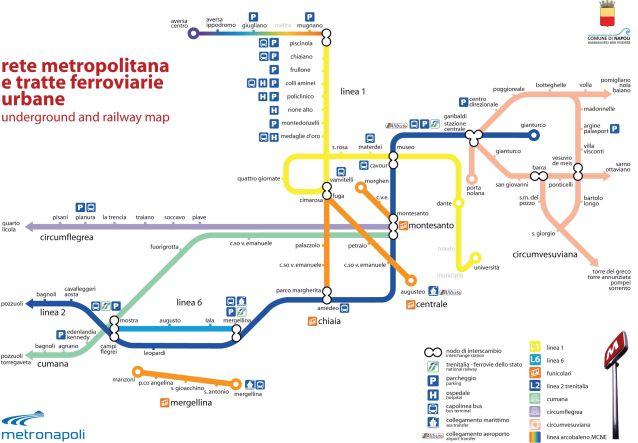 La mappa della rete metropolitana di Napoli