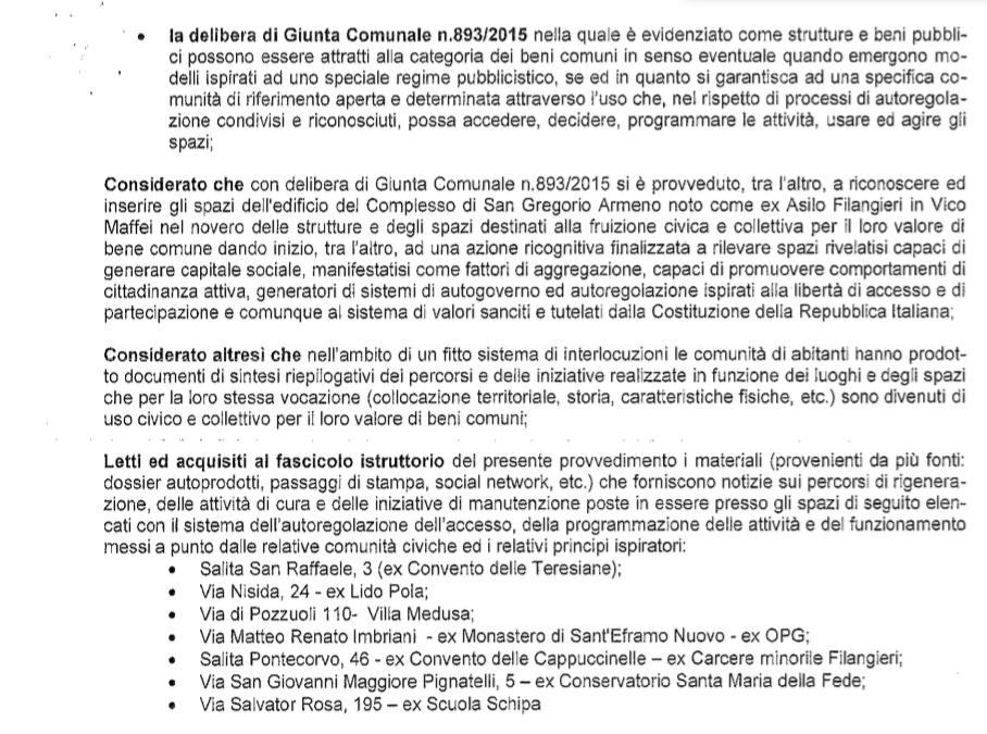 La delibera del Comune di Napoli sulla regolarizzazione degli spazi.