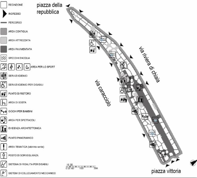 Mappa della Villa Comunale (Fonte: Comune di Napoli).