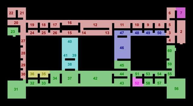 Mappa del primo piano del Museo di Capodimonte.