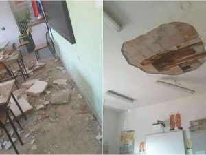 Crollano calcinacci in una scuola, paura nel Salernitano