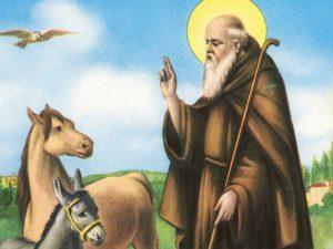 Sant'Antonio Abate il protettore dei macellai ritratto sempre con un maialino