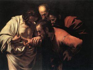 """""""L'incredulità di San Tommaso"""", celebre dipinto di Michelangelo Merisi detto Il Caravaggio"""