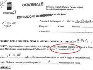 Per la festa a Maradona il Comune di Napoli non ha incassato la Cosap