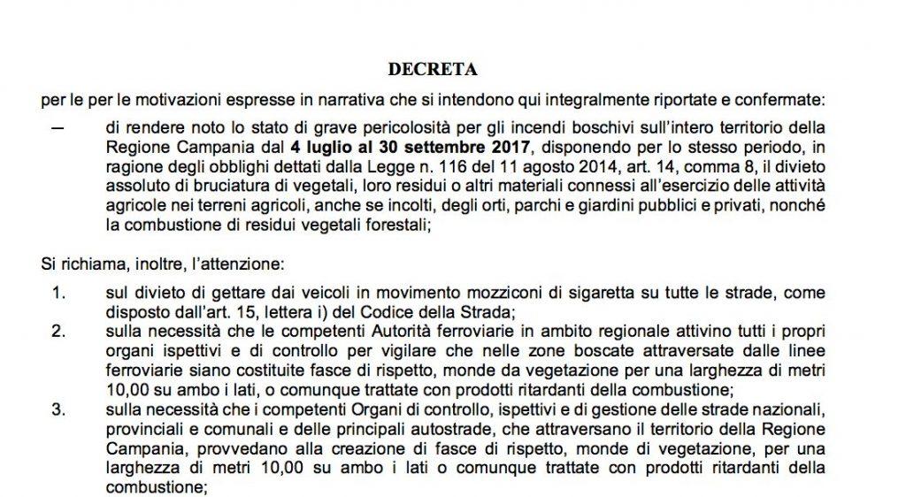 Stralcio del decreto regionale sugli incendi boschivi in Campania