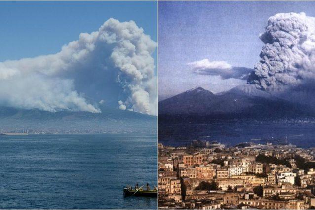 L'incendio sul Vesuvio e a destra l'eruzione del 44