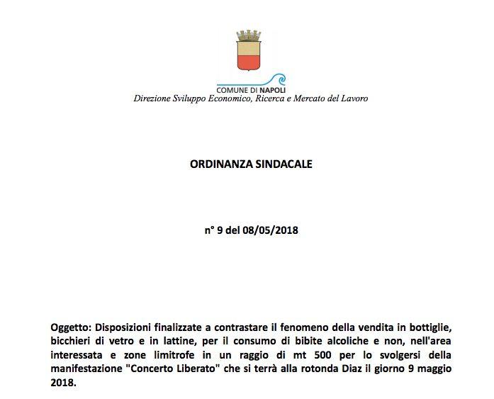 L'ordinanza sindacale per il concerto di LIBERATO
