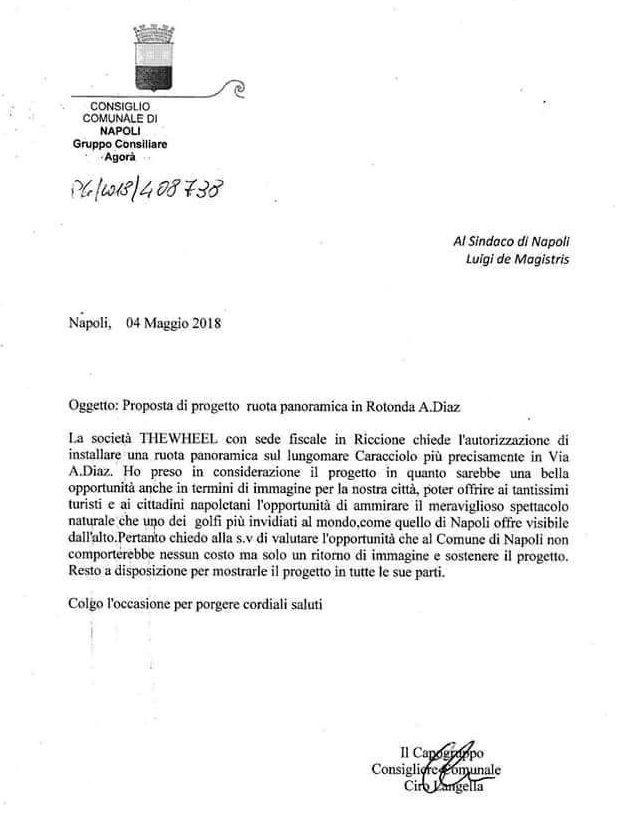 La lettera del consigliere comunale Langella che accompagna la proposta di ruota panoramica a Napoli