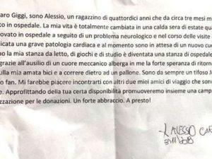 La lettera del piccolo Alessio inviata a Gigi Buffon.