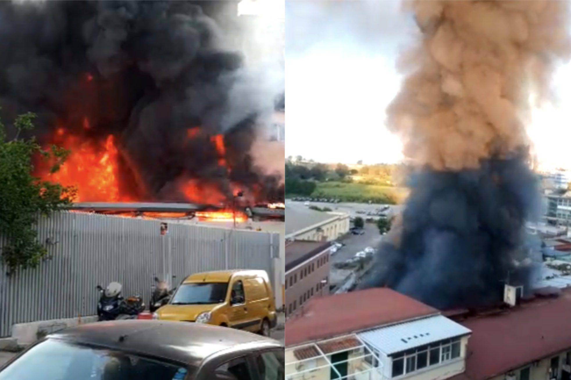 Incendio A Napoli A Fuoco Deposito Di Gerardi Fortura Il